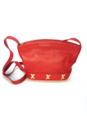 Red Leather Picasso Paloma Purse with Three Logos