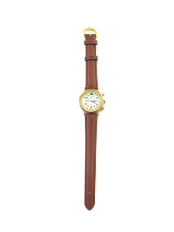 Peugeot Lunar Perpetual Calendar Watch with Tan Leather Band