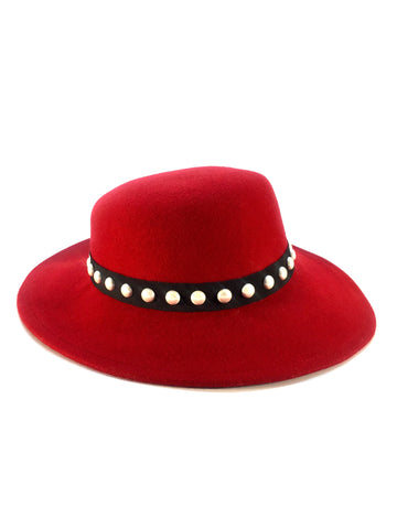 Vintage Red Lancaster Fedora with Pearl Detail