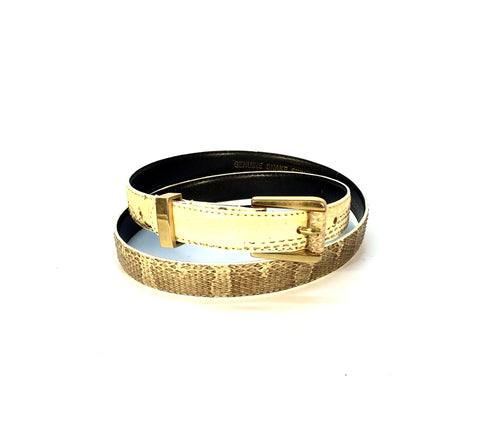 Vintage Cream and Brown Snake Skin Belt