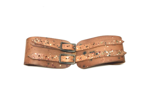 Brown Leather Belt with Double Strap & Paint Splatter Detail