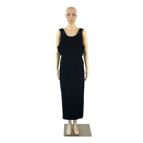 Black Velvet Evening Dress with Plunging Back and Crystal Detail