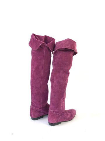 Vintage Purple Suede Thigh High Boots