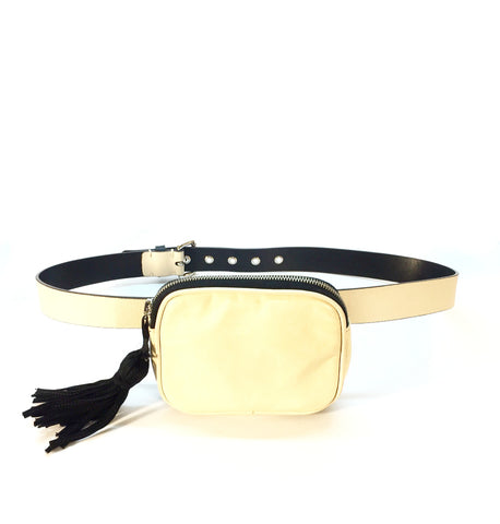 Sonia Rykiel Cream Leather Belt with Fanny Pack
