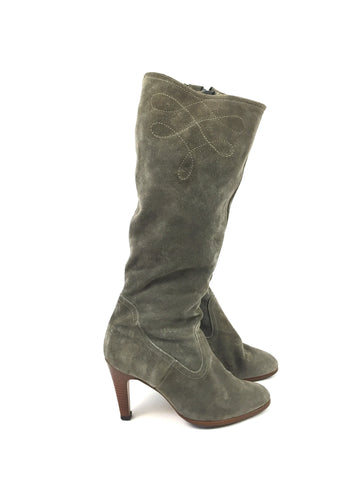 Vintage Grey Suede Knee High Boots