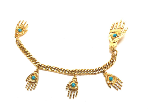 Gold Hamsa Collar Pin