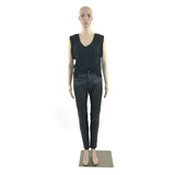 Black Leather & Denim Hybrid Skinny Jeans