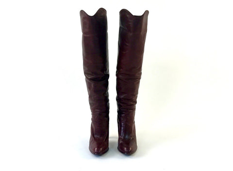 Burgundy Knee-High Leather Boots