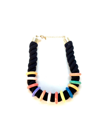 Vintage Black Rope Necklace with Multi-Color Rings