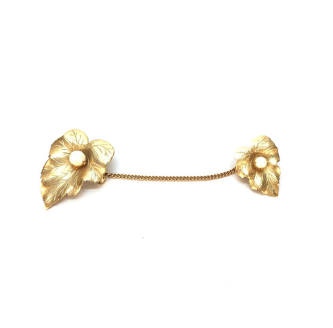 Vintage Gold Leaf with Pearl Solitaire Brooch
