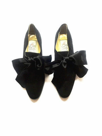 Vintage Joan & David Suede Flats with Satin Bow Lace Ups