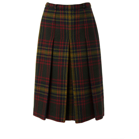 Vintage Wool Plaid Pleated Skirt