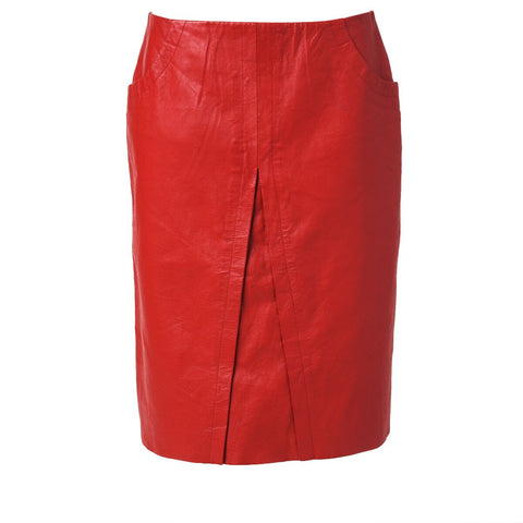 Vintage Red Leather Skirt with Faux Slit Detail