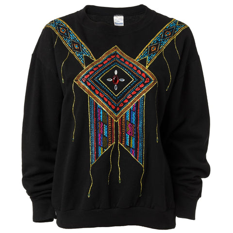 Vintage Black Jewel Embellished Sweatshirt