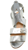 "Candela Silver ""Dimitri"" Leather Sandal"