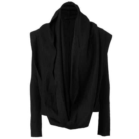 Black Wool Jacket with attached Shawl