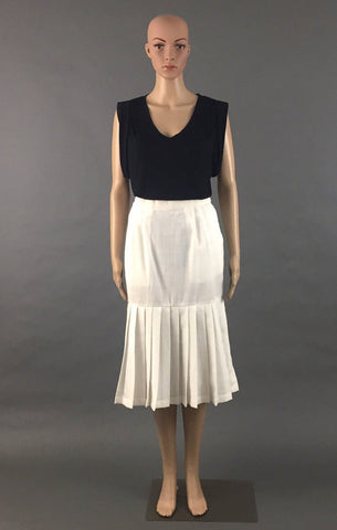 Vintage Bally White Linen Skirt