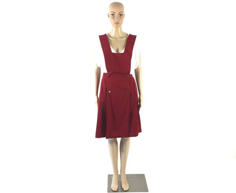 Vintage Red Wool Pleated Overall Dress