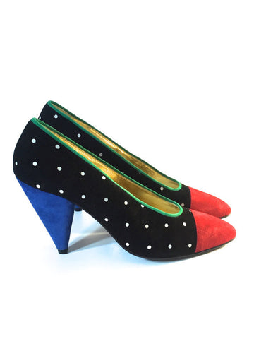 Vintage Escada Multi-Color Suede Pumps