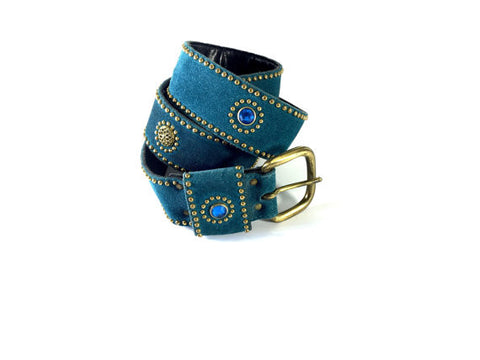 Teal Suede Belt with Gold Studs and Multi-Color Jewels