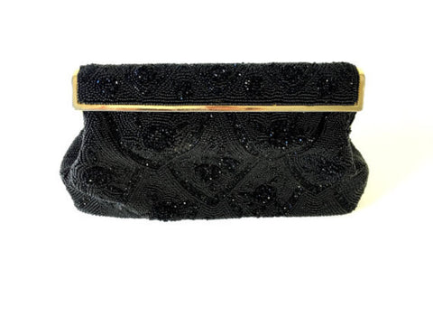 Vintage Black Hand Beaded Evening Purse
