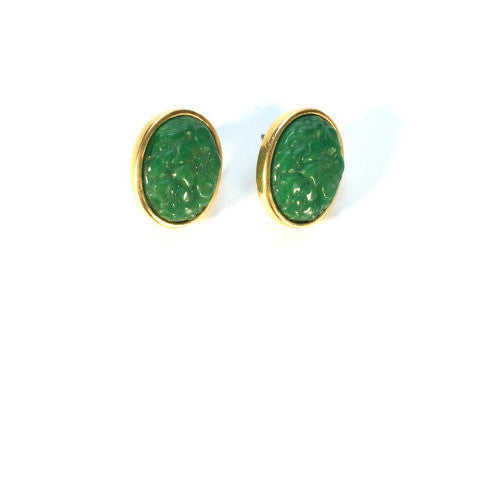 Vintage Emerald Green and Gold Stud Cocktail Earrings