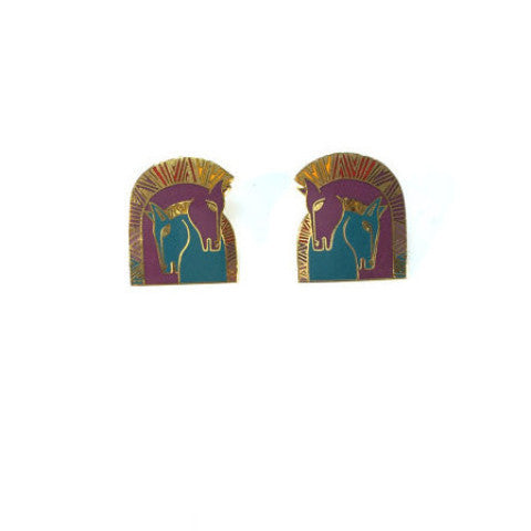 Vintage Gold, Purple and Blue Horse Stud Earrings