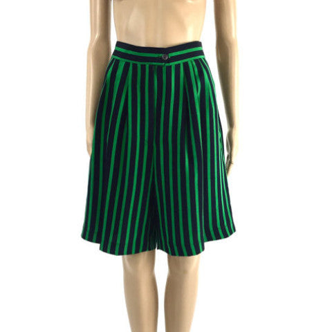 Vintage Green and Black Striped Shorts