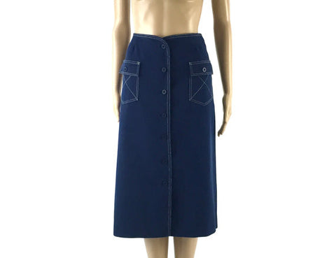 Vintage Navy Blue Button Down Skirt with White Stitch Detail