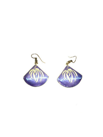 Purple with Gold Detail Drop Earrings
