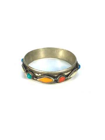Sterling Silver Handmade Multi-Color Stone Bangle Bracelet
