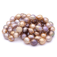 Multicolored Fresh Water Baroque Pearl Necklace with 18K Gold & Diamond, 37inch