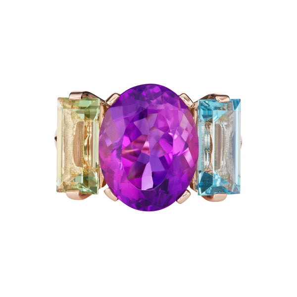 The Sword Swallower Ring in 18k Rose Gold with Amethyst, Blue Topaz, and Green Quartz