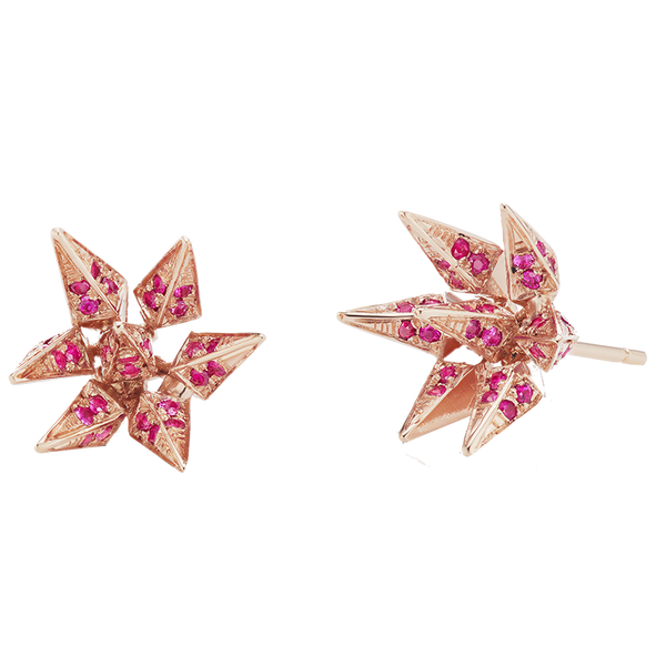 The Ruby with Rose Gold Hedgehog Studs