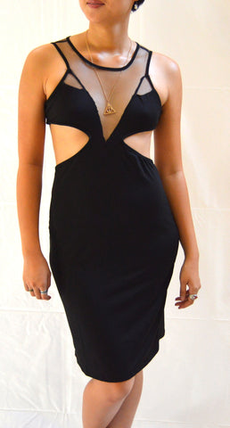 Black Peek-a-boo Bodycon Dress
