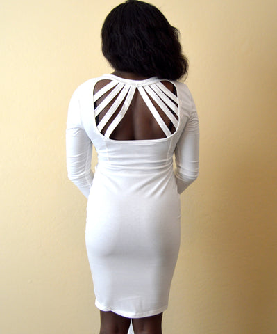 White 3/4 Sleeved Cotton Dress