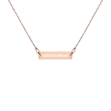 'Phirst and Phinest' Pretty Girl Engraved Silver Bar Chain Necklace