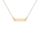 'The Redz' Diva Engraved Silver Bar Chain Necklace