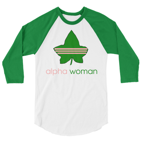"""Alpha Woman"" Alpha Kappa Alpha Sorority, Incorporated 3/4 Sleeve Tee"