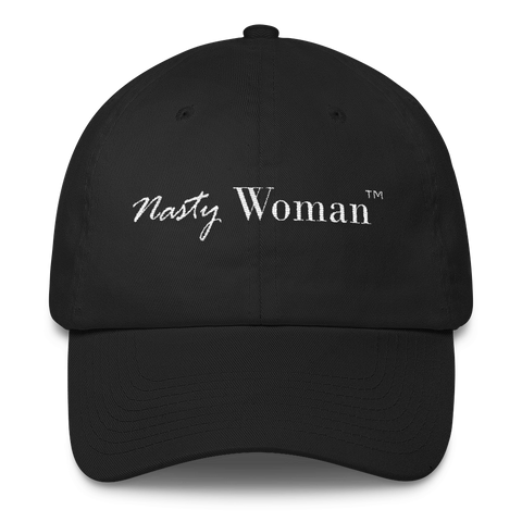 """Nasty Woman TM"" Anti-Trump Cap White Embroidery"