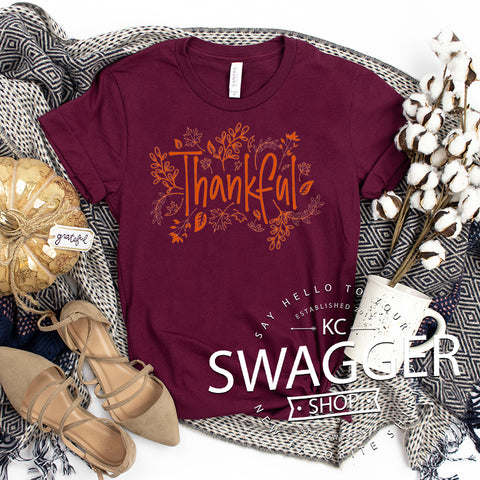 Thankful Tee Maroon