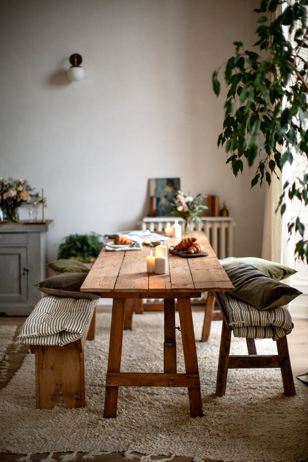 natural modern rustic interior with plants