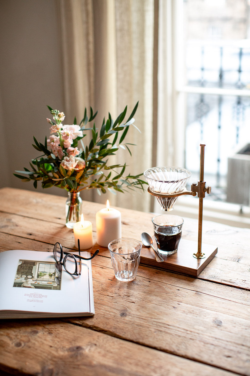 beautiful hand crafted brass coffee pour over stand