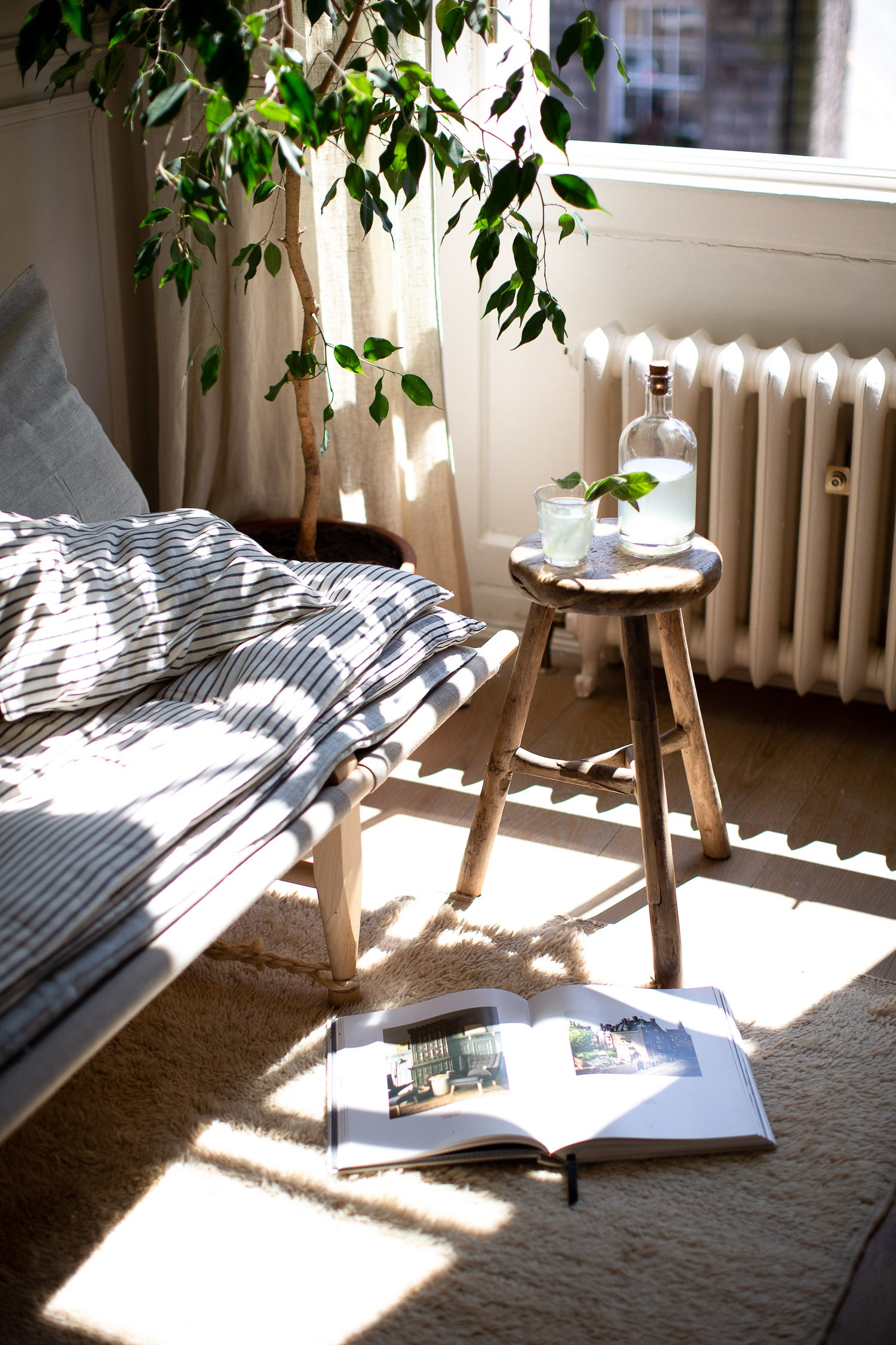 stacked mattresses on daybed