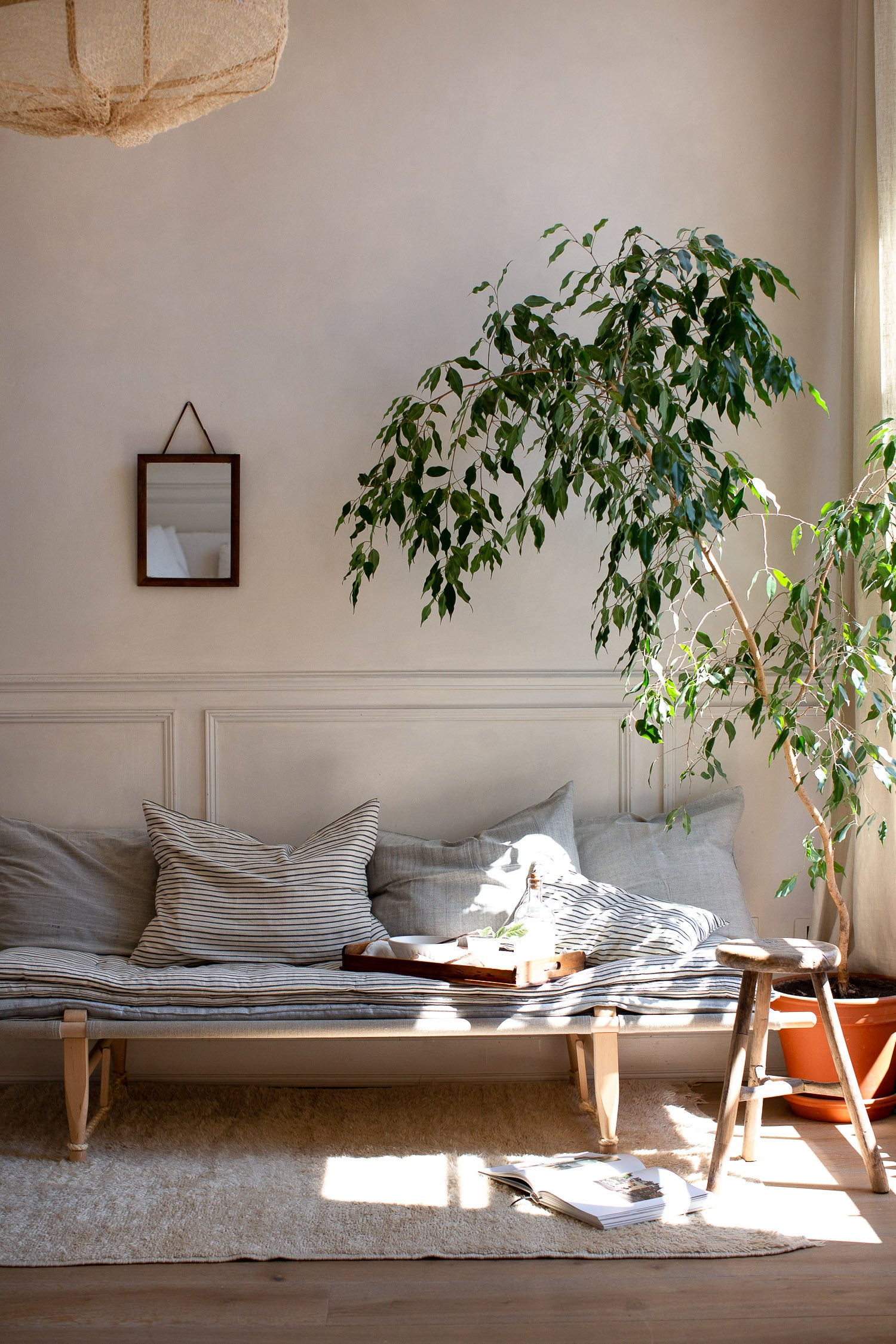 natural linen daybed with mattress stack