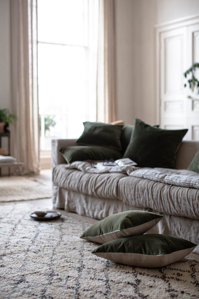 interior decor with linen and velvet