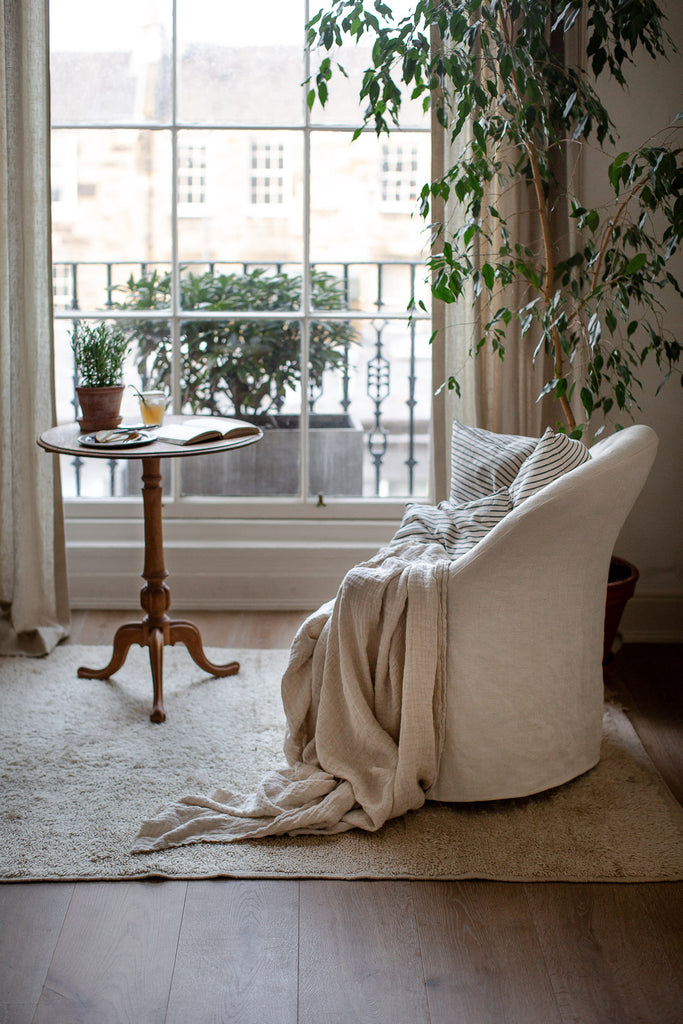 natural home decor with linen and plants