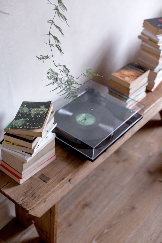 record player and books for slow living