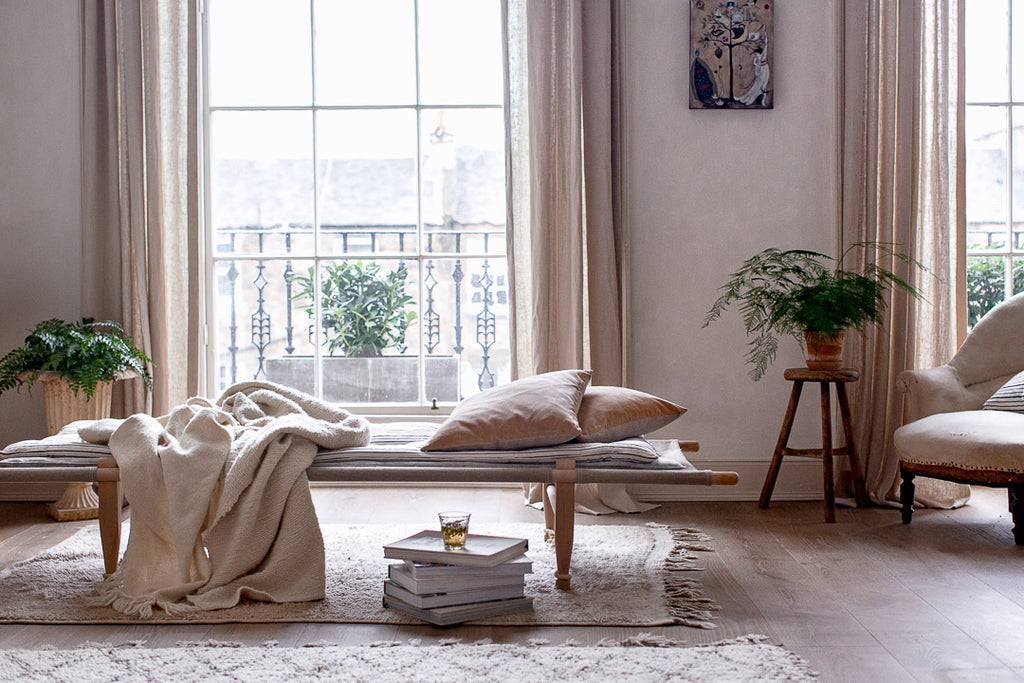 calming home decor in soft neutral colours and natural materials