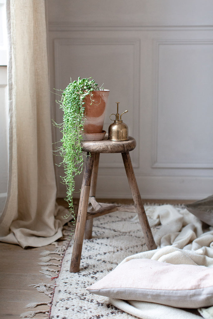 soft natural home decor with linen and plants
